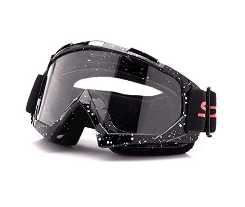 Adisaer Motocross Goggles ski Goggles Riding Outdoor Anti-Fog Glasses Black White Transparent for Unisex