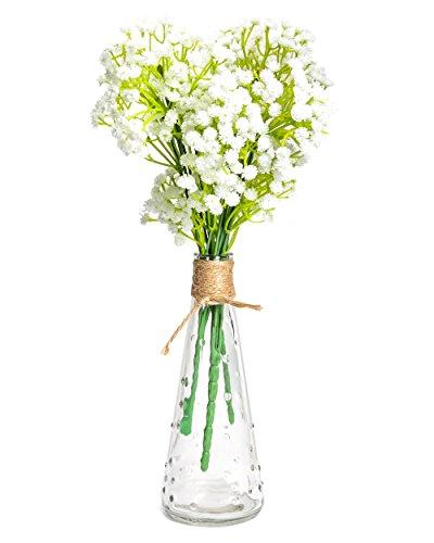 Baby Flower Arrangements (Mkono Artificial Baby's breath with Decorative Vase Set 3Pcs Faux Silk Baby's breath Flowers Floral Arrangements for Home Kitchen Office Wedding Decor)