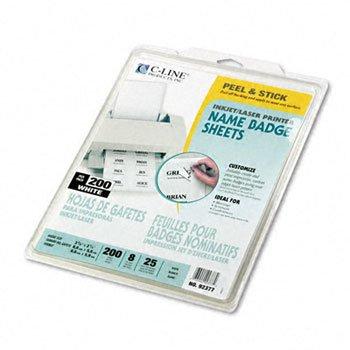 New-C-Line 92377 - Self-Adhesive Inkjet/Laser Printer Name Badges, 2-1/3 x 3-3/8, White, 200/Box - (Cline Self Adhesive Inkjet)