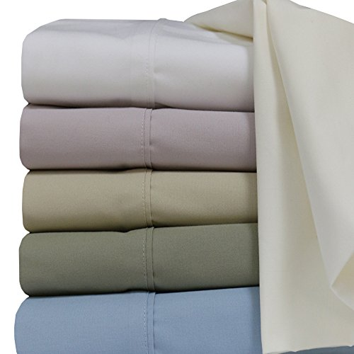 Percale Solid Ivory 250 Thread Count Cal King Size Un-attached Waterbed Sheet Set 100 %Cotton By (Percale Waterbed Sheets)