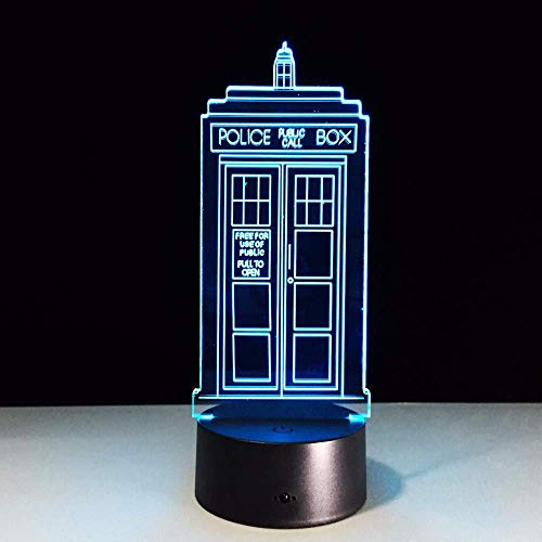 LLWWRR1 7 Colors Change Lamp Police Box 3D Lamp Acrylic Led USB Table Lamp Tardis Lights Multi-Colored Bulbing Light
