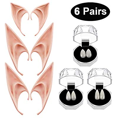 Vampire Teeth Fangs Elf Ears Boxes for Halloween Costume Accessory Party Favors: Toys & Games