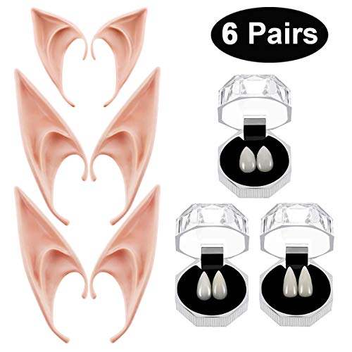 Party Box Halloween Costumes (Vampire Teeth Fangs Elf Ears Boxes for Halloween Costume Accessory Party)