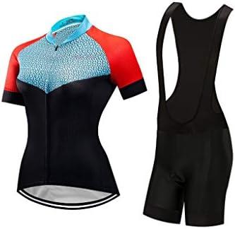 女性のサイクリングジャージービブショーツセット半袖ジェル充填アウトドアスポーツジャージフルジップ