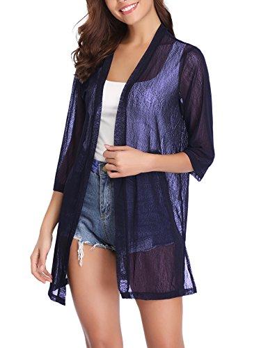 iClosam Women Casual 3/4 Sleeve Sheer Open Front Cardigan Sweater (Dark Blue, X-Large) ()
