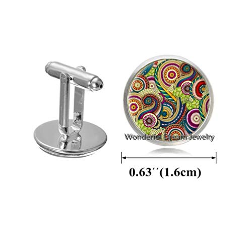 Waozshangu Silver Plated for gilrs Colorful Mandala Cufflinks Indian Om Henna Yoga Cuff Links Glass Cuff Links Buddhism Spiritual Jewelry,PU166 (Silver)