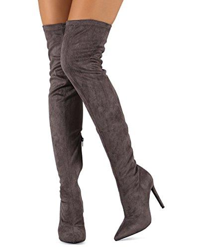 Liliana DB54 Damen Wildleder Spitze Zehenhoch Single Stiletto Stiefel Grau