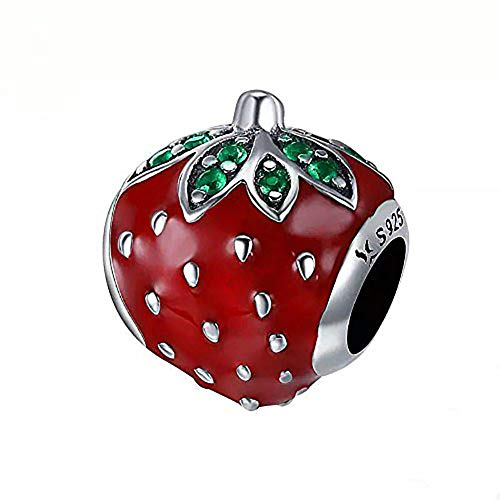 - Strawberry Charm 925 Sterling Silver Fruits Charm Beads for Fashion Charms Bracelet & Necklace