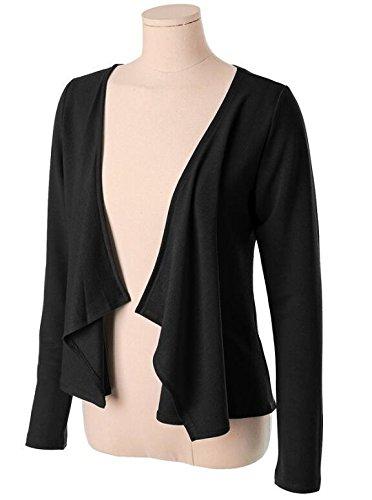 LemonGirl Womens Long Sleeve Irregular Hem Pocket Cardigan Tops Sizes 34-48 Black