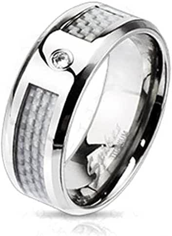Solid Titanium White Silver Carbon Fiber Inlay CZ Center Band Ring (Sizes 9-13)