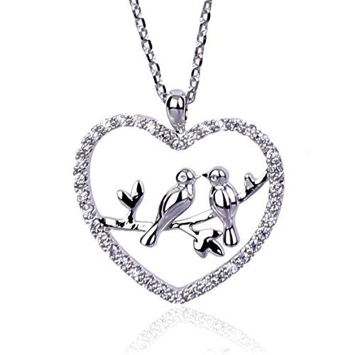 NickAngelo's Love Birds Heart Pendant Necklace Elegant Fashion Jewelry For Women (rhodium-plated-copper, cubic-zirconia)