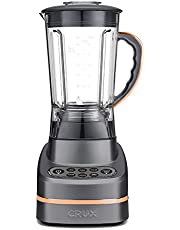 Crux CRUX002 7 Speed Blender-1.5L (50oz) BPA Free Jug-Self Cleaning-1HP Motor-for Smoothies, Soups, Juices and Purees-Crushed Ice Setting-3 Year Warranty, Plastic & Metal, 745 W, 1.5 liters