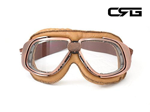 CRG Sports Vintage Aviator Pilot Style Motorcycle Cruiser Scooter Goggle T10 T10NCN Transparent lens, copper color frame, brown padding by CRG Sports
