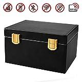 Car Key Signal Blocker Box, lesgos RFID Anti-Theft Key Storage Box PU Leather Faraday Cage Safe Security for Remote Smart Keys Cards Household (1)