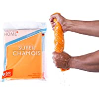 Super Chamois - Extra Large 20 X 27 Super Absorbent Cleaning Cloth - 6 Pack Orange Shammy - Holds 20x Its Weight In Liquid