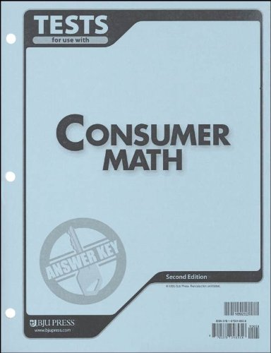 Consumer Math Tests Answer Key 2nd - Consumer Tests Math