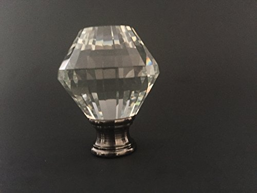 Crystal Fayette Lamp Finial for Lamp Shade, Black with Antique Brass Finish -