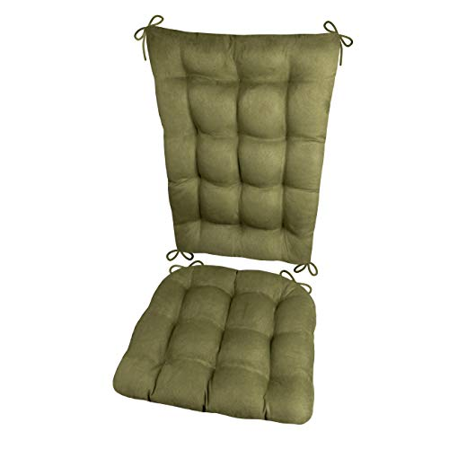 - Rocking Chair Cushions - Microsuede Laurel Green Micro Fiber Ultra Suede - Extra-Large - Reversible, Latex Foam Filled Seat Pad and Back Rest - Made in USA (Presidential) (Olive)