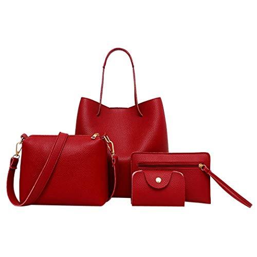 KFSO Fashion Women's PU Leather Handbag+Shoulder Bag+Purse+Card Holder 4pcs Set Tote (Red) -