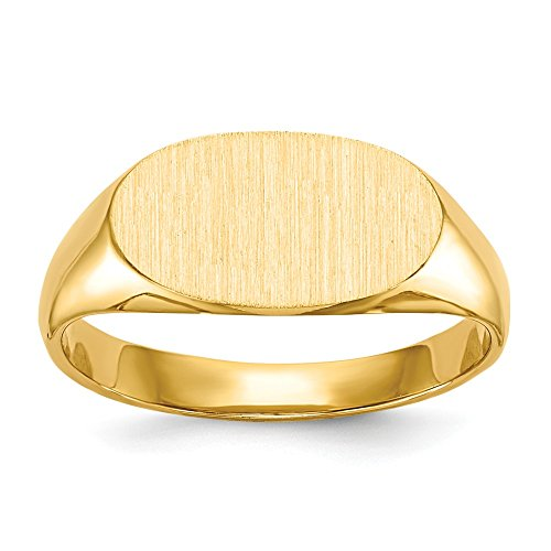 14k Yellow Gold Signet Band Ring 11.5mmx6.5mm Closed Back Size 4.00 Fine Jewelry Gifts For Women For Her ()