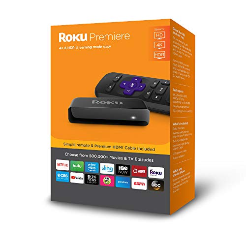Roku Premiere | HD/4K/HDR Streaming Media Player with Simple Remote and Premium HDMI Cable (Best Internet Streaming Device For Tv)