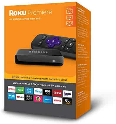 Roku Premiere | HD/4K/HDRStreaming Media Playerwith Simple Remote and Premium HDMI Cable