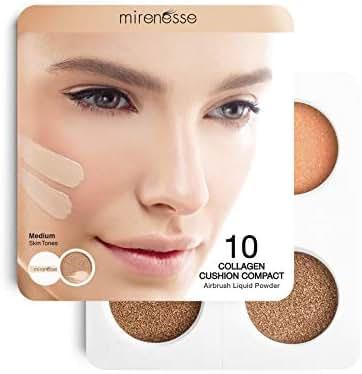 Mirenesse 4PCE Starter 10 Collagen Cushion Compact Airbrush Liquid Foundation + Blush, Sampler Set 0.21oz, Medium (23/25)