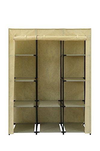 Home-Like Portable Wardrobe Bedroom Armoires Clothes Closet Non-Woven Fabric Wardrobe Storage Cabinet Clothes Storage Organizer 10 Closet Shelves Beige Color 51.18''Wx17.72''Dx65.35''H(115B-Beige)