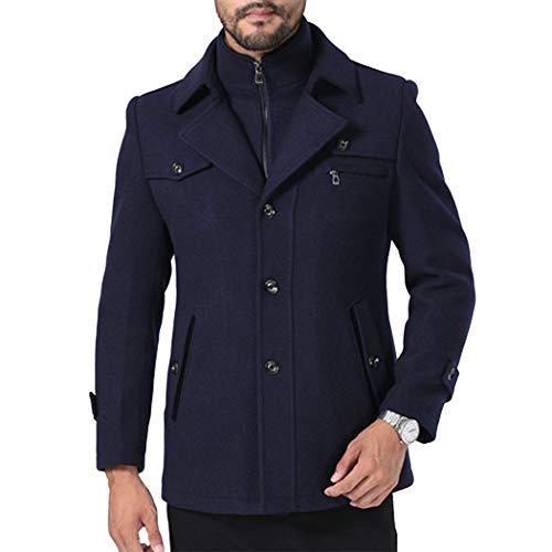longue Coat Hanmax Automne Hiver Slim Elégant Marin Manteau Classique Chaud Trench Mi Homme Bleu Laine De Casual OYOrq