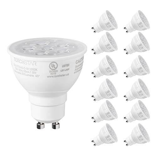 TORCHSTAR 12-Pack MR16 GU10 LED Light Bulb, Dimmable Spot Light, 7.5W (75W Eqv.), Energy Star & UL-Listed, 2700K Soft White, 500lm for Track Light & Recessed Trim, 3 Year Warranty