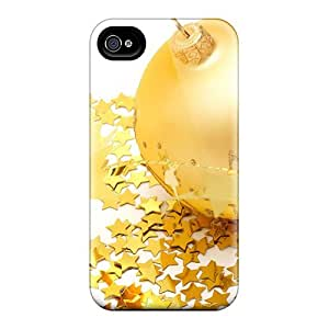 Unique Design Iphone 4/4s Durable Tpu Case Cover Sparkle Golden Balls