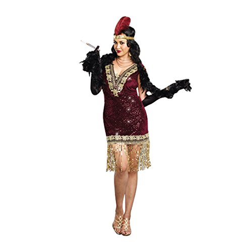 Dreamgirl Women's Plus-Size Sophisticated Lady 1920s Flapper Party Costume, Burgundy, 1X/2X]()
