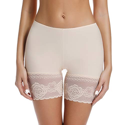 Slip Shorts for Under Dresses Thigh Bands Anti Chafing Underwear Womens Lace Undershorts (Nude, L)