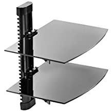 Mount Factory - Adjustable Wall Mount / Glass Floating DVD Component Shelf - 2 Tier - Black