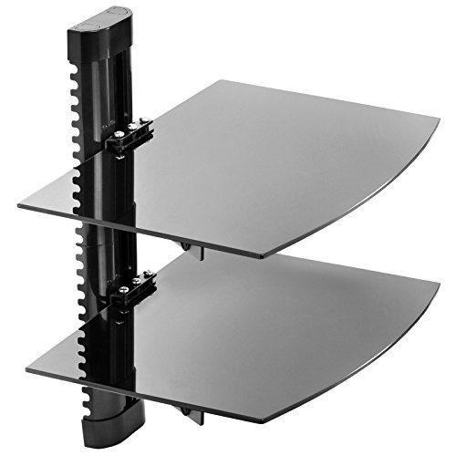 Wall Mount Audio Rack - Mount Factory - Adjustable Wall Mount / Glass Floating AV DVD Component Shelf - 2 Tier - Black