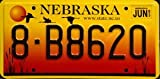 Nebraska www.state.ne.us License Plate black numbers on yellow orange with migrating ducks