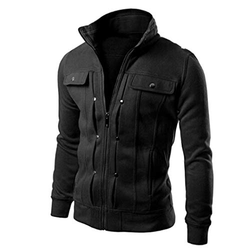 Rambling 2018 Mens Slim Lapel Front-Zip Coat Jacket Black