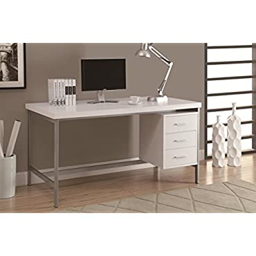 Monarch Specialties 60 Computer Desk with Drawers, White (MS-VM7046)
