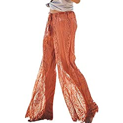 OrchidAmor Sexy Women Lace See Through Long Trousers Beach Summer Holiday High Waist Pants Red