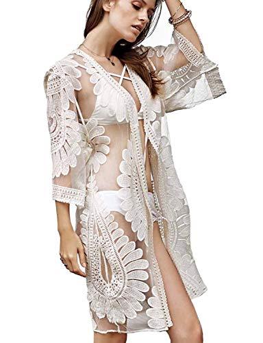 (Vivilover Womens Lace Plus Size Swimsuit Coverup Beach Maxi Long Dress (white))