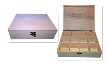 Caja de madera con compartimentos para decorar pintar decoupage: Amazon.es: Hogar