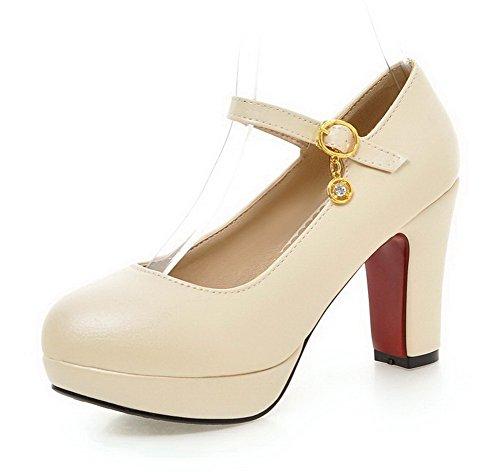 AgooLar Damen Rein Weiches Material Hoher Absatz Schnalle Rund Zehe Pumps  Schuhe Cremefarben