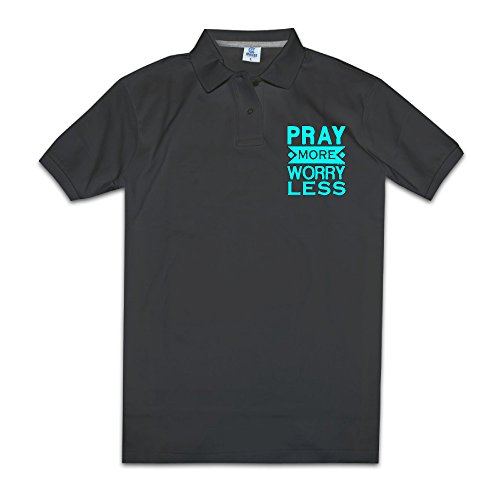 Pray More Worry Less Christian Men's Polo Style XXL Black ()