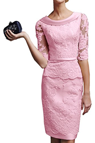 Gorgeous Bridal Short Sheath Half Sleeves Mother of the Bride Lace Cocktail Dresses - US Size 12 Pink