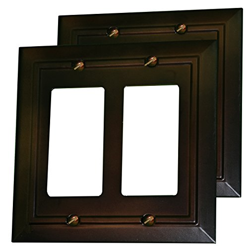 Pack of 2 Wall Plate Outlet Switch Covers by SleekLighting | Decorative Dark Brown Mahogany Look | Variety of Styles: Decorator/Duplex / Toggle / & Combo | Size: 2 Gang Decorator
