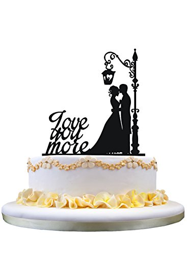 Love you more Wedding Cake Topper? Groom and Bride Wedding Cake Topper Silhouette (Words Topper Cake)
