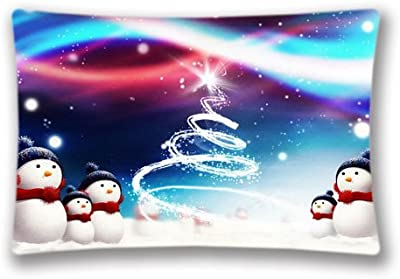 Snowman Pillow Case Cushion Cover Fashion Pattern Design Pillow Protector Home Sofa Decorative 20X36 Inch(Twin Sides)