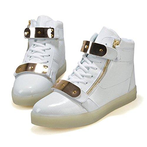 (Present:kleines Handtuch)JUNGLEST 7 Farbe LED Leuchtend Aufladen USB Erwachsene Paare Schuhe Herbst und Winter Sport schuhe Freizeitschuhe Leucht la Weiß