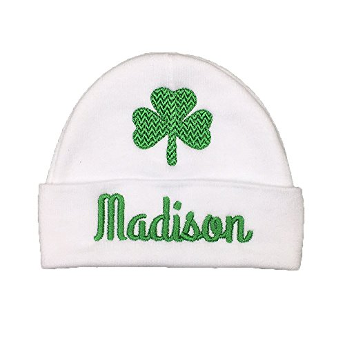 Personalized Baby hat with Shamrock for a Baby Girl or Baby boy, Custom Irish Baby Gift, Clover Baby hat, St. Patrick's Day Baby hat (0-3 Months) (Best Baby Name Site)