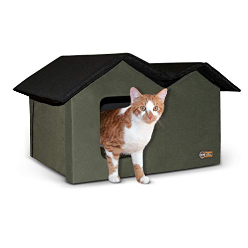 """K&H Pet Products Outdoor Kitty House Extra-Wide (unheated) Olive/Black 26.5"""" x 15.5"""" x 21.5"""""""